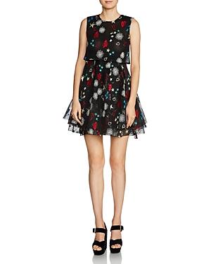 Maje Rachel Heart & Floral Print Mini Dress