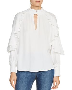 Maje Lisso Ruffle Trim Top