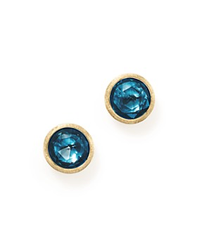 Marco Bicego 18k Yellow Gold Jaipur London Blue Topaz Stud Earrings