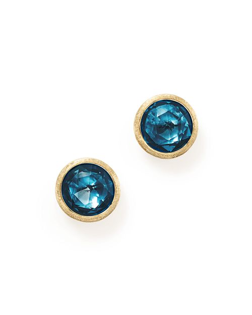 Marco Bicego 18k Yellow Gold Jaipur London Blue Topaz Stud Earrings