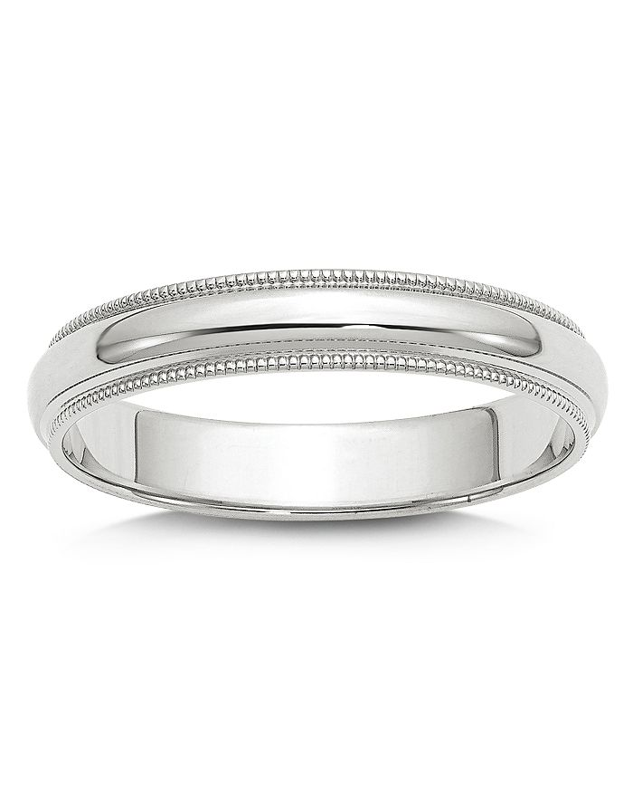 Bloomingdale's - Men's 4mm Half Round Milgrain Band 14K White Gold - 100% Exclusive