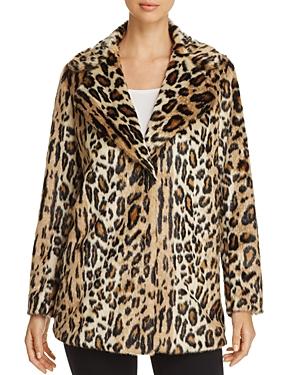 Kenneth Cole Leopard Print Faux Fur Coat