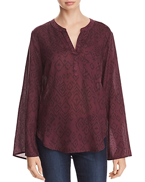 Side Stitch Printed Flare-Sleeve Top - 100% Exclusive