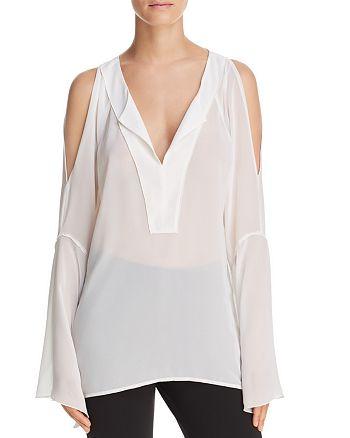 Donna Karan - Cold-Shoulder Chiffon Top