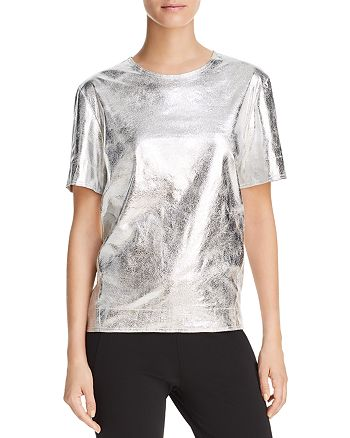 Donna Karan - Metallic Short Sleeve Top
