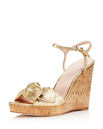kate spade new york - Women's Janae Metallic Leather Platform Wedge Sandals