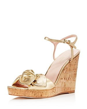 kate spade new york Women's Janae Metallic Leather Platform Wedge Sandals