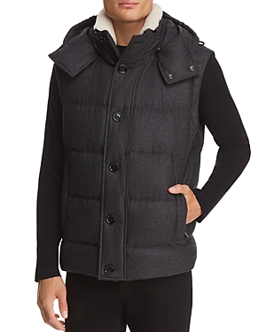 Boss Sherpa Collar Wool-Cashmere Hooded Vest