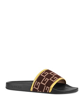 Gucci - Men's Canvas and Leather Slides