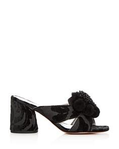 MARC JACOBS - Women's Aurora Embellished Faux-Fur & Pom-Pom Block Heel Slide Sandals