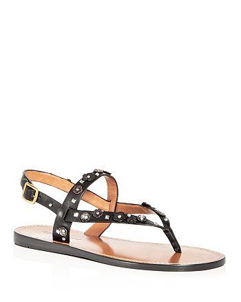 7a2b717b9b63 COACH Women s Hudson Embellished Leather Slingback Thong Sandals ...