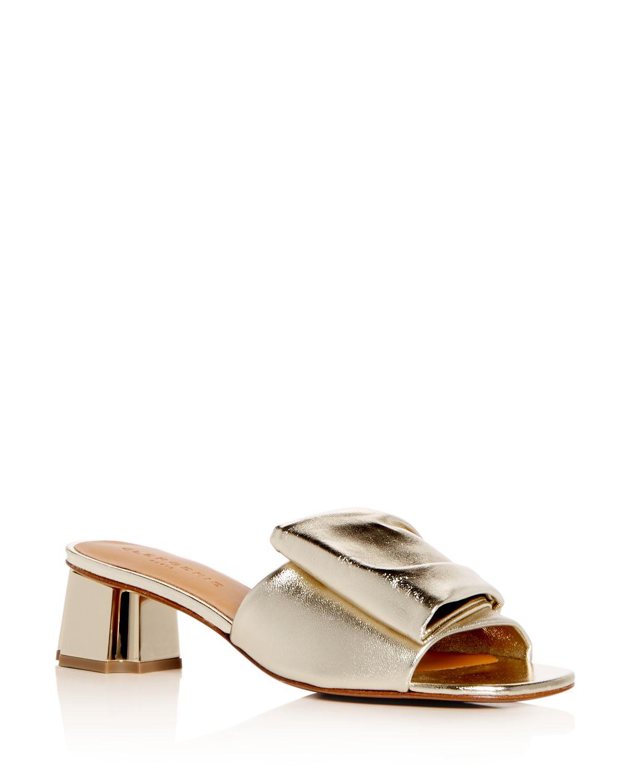Robert Clergerie Women's Lendy Leather Block Heel Slide Sandals