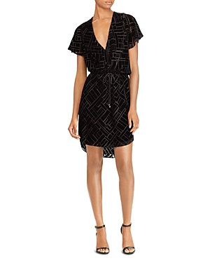 Lauren Ralph Lauren Burn-Out Velvet Faux-Wrap Dress