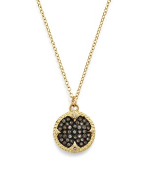 Armenta 18K Yellow Gold & Blackened Sterling Silver Old World Pave Champagne Diamond Carved Disc Pen