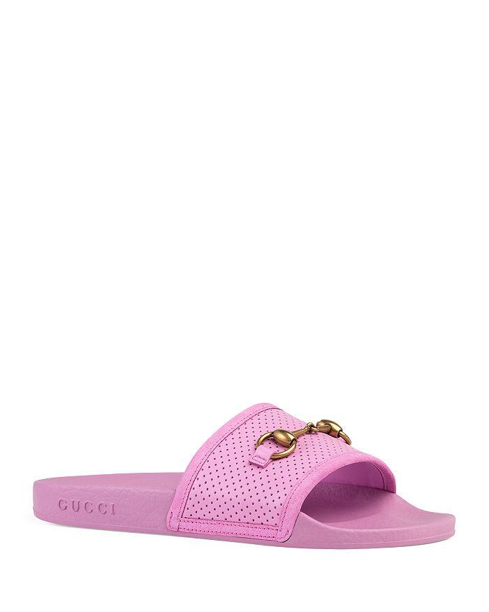 05cbe5ea5 Gucci Women's Pursuit Horsebit Leather Pool Slides | Bloomingdale's