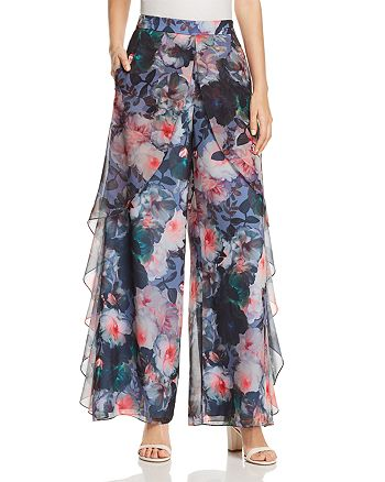 Badgley Mischka - Floral Print Ruffled Chiffon Pants