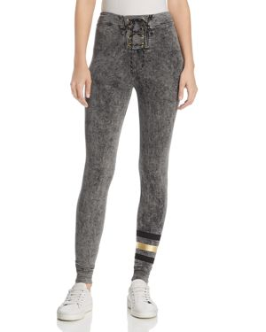 Sundry Foil-Stripe Super-Skinny Sweatpants