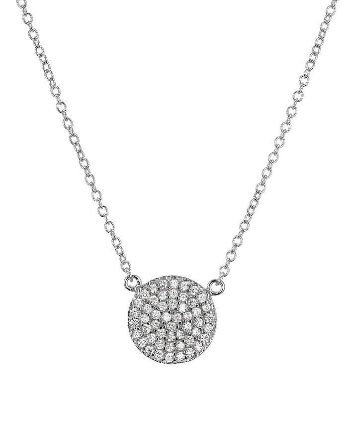 """AQUA - Sterling Silver Pavé Circle Pendant Necklace, 16"""" - 100% Exclusive"""