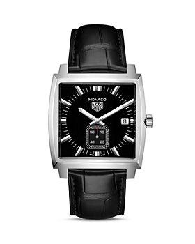 TAG Heuer - Monaco Quartz Ladies' Black Leather Watch, 37mm