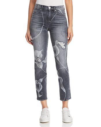 Hudson - Zoeey Straight Jeans in Noir in Bloom