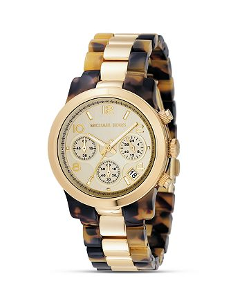 Michael Kors - Round Tortoise and Gold Bracelet Watch, 38MM