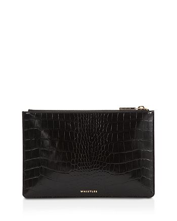 Whistles - Shiny Small Croc-Embossed Leather Clutch