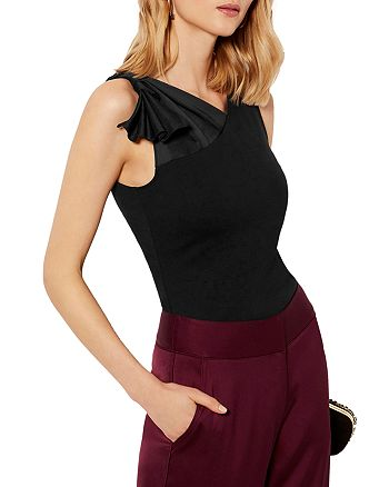 KAREN MILLEN - Asymmetric Satin-Trim Top