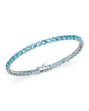 Bloomingdale's Blue Topaz Tennis Bracelet in 14K White Gold - 100% Exclusive