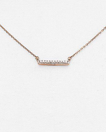 """Adina Reyter - 14K Rose Gold Pavé Diamond Bar Necklace, 15"""""""