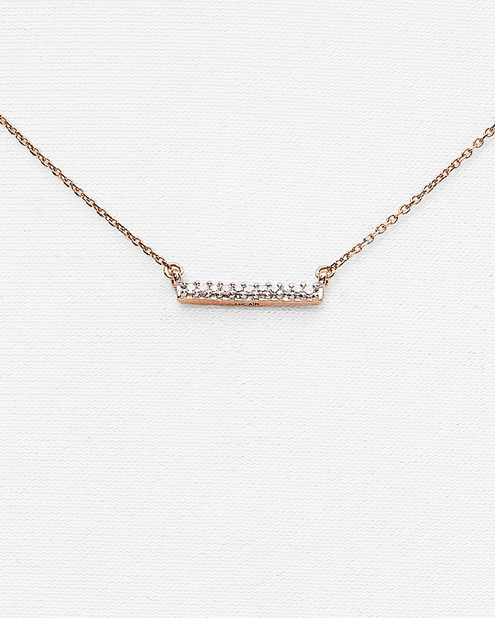 Adina Reyter - 14K Rose Gold Pavé Diamond Bar Necklace, 15""