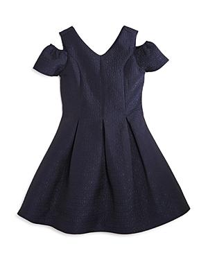 Us Angels Girls Pleated ColdShoulder Jacquard Dress  Big Kid