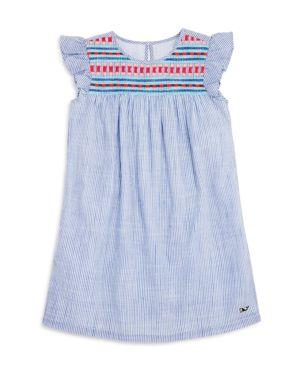 Vineyard Vines Girls' Embroidered Flutter-Sleeve Dress - Little Kid