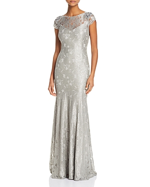 Adrianna Papell Embellished Metallic Lace Gown