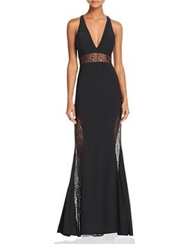 AQUA - Lace-Inset Crepe Gown - 100% Exclusive
