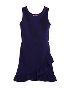 AQUA Girls' Textured Dress with Asymmetrical-Ruffled Skirt, Big Kid - 100% Exclusive - Bloomingdale's_0