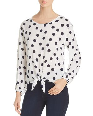 Three Dots Polka Dot Voile Tie Front Blouse