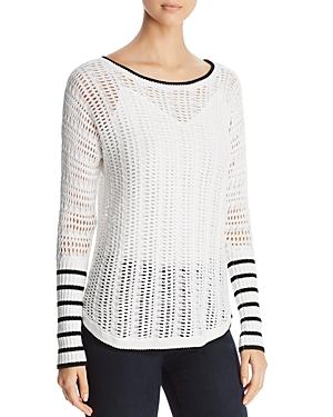 Heather B Boatneck Open-Weave Sweater