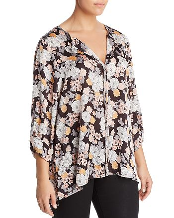 B Collection by Bobeau Curvy - Cristy Floral Print Roll Sleeve Top