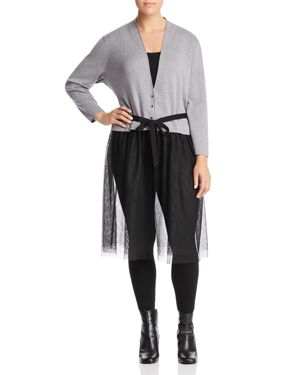 Nic+Zoe Plus Tulle Time Mixed Media Duster Cardigan