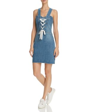 Tule Lace-Up Sleeveless Denim Dress, Nolita