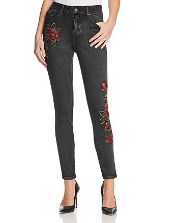 AQUA - Embroidered Skinny Jeans in Dark Stone - 100% Exclusive