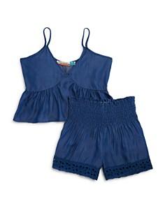 Vintage Havana Girls' Chambray Ruffled Top & Smocked Shorts - Big Kid - Bloomingdale's_0