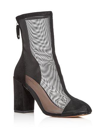 Avec Les Filles - Women's Rita Suede & Mesh High Block Heel Booties