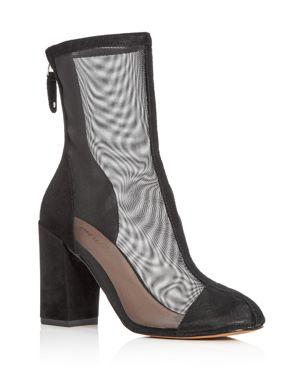 Avec Les Filles Women's Rita Suede & Mesh High Block Heel Booties