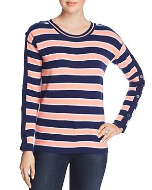 Minnie Rose Button-Sleeve Striped Cashmere Sweater