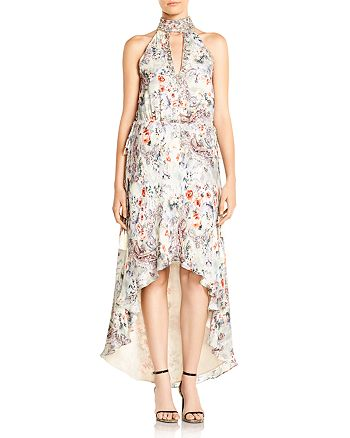 Haute Hippie - Wished Upon Floral-Print High/Low Hem Silk Dress