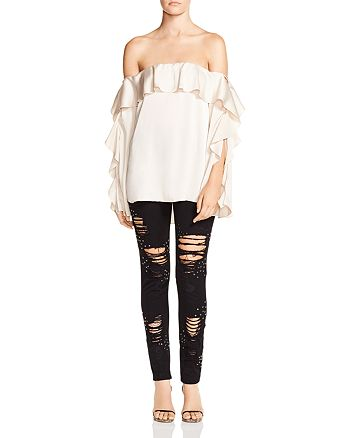 Haute Hippie - One Wish Ruffled Off-the-Shoulder Top