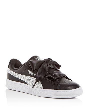 online retailer 692c8 72927 PUMA Women's Basket Heart Leather & Glitter Lace Up Sneakers ...