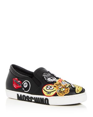 Moschino Women's Applique Embellished Leather Slip-On Sneakers