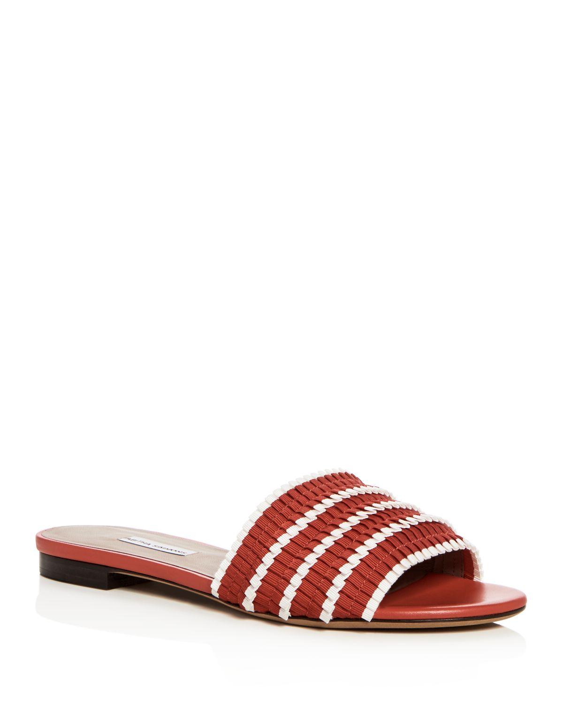 Tabitha Simmons Women's Sprinkles Pleated Ribbon Slide Sandals